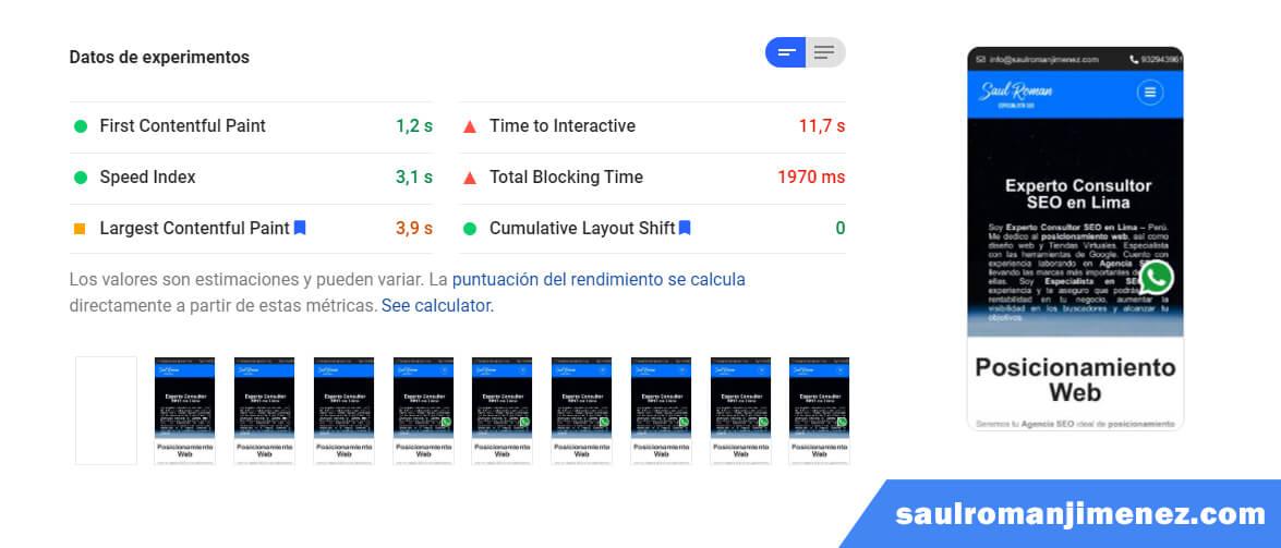 información de la velocidad de la página